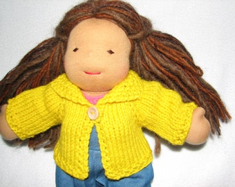 Doll Sweater for 10 inch Doll in Neon Canary Yellow Wool RTG