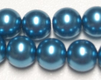 NEW 14mm Montana Glass Pearls 1 strand
