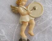 German Vintage Ornament Cherub with Musical Instrument Glitter Star