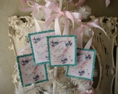Vintage style Birthday gift tags for friend Blue Bird paper party favor Vintage card scrap tags Pink and Aqua Shabby Chic tags glittered