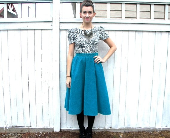 SALE.. The Blues 70s Turquoise & Black Print Circle Skirt