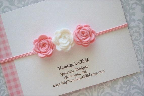 Felt Flower Headband in Pink and White Roses - Newborn Headbands Baby Headbands Baby Girl Headbands