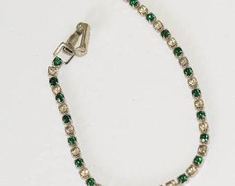 Vintage Emerald Rhinestone Bracelet Vintage Emeralds and Diamonds