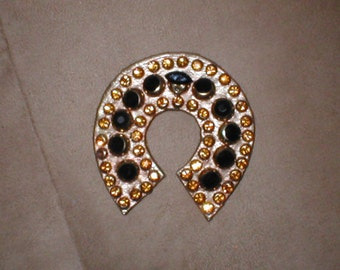 Vintage Rhinestone on Leather Brooch Pin
