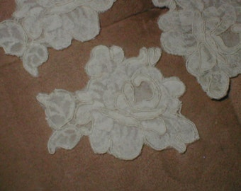 lot of 5 vintage IVORY French Alencon Lace Appliques