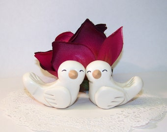 Wedding Cake Topper Love Birds - Cheek to Cheek Love - Colors of Choice