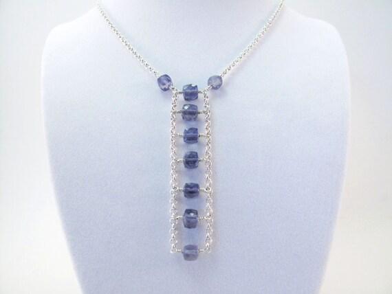 Iolite Cubes  Necklace