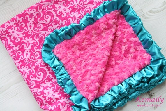 Pinkalicious and Turquoise Satin Ruffle Minky Blanket From Kemaily