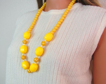 Vintage 1970's Plastic Faceted Large Yellow Beaded Necklace