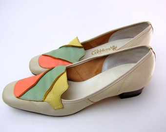 Vintage 1960s Square Toe Mod Leather  Loafers by Cobblers Pastel  Fronts