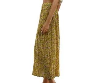 Vintage Boho Gold Crinkle Floral Midi Skirt Medium