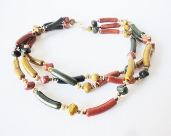 CLEARANCE retro style necklace Earthy color necklace multiple strands vintage jewelry