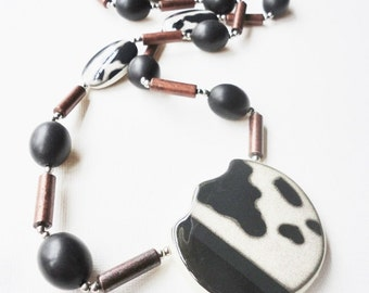 vintage eccentric ceramic beads necklace long chunky made in Japan