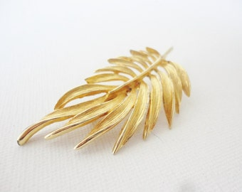 CLEARANCE gold tone textured leaf pin brooch nature inspired jewelry