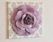"Wall Decor - Wall Flowers -Lilac Rose on Neutral Gray Tarika Print 12 x12"" Canvas Wall Art- Baby Nursery Wall Decor-"