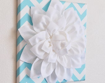"Wall Flower -White Dahlia on Aqua and White Chevron 12 x12"" Canvas Wall Art- Baby Nursery Wall Decor-"