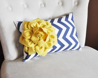 Navy Chevron Lumbar Pillow Mellow Yellow Dahlia on Navy and White Zig Zag Lumbar Pillow 9 x 16