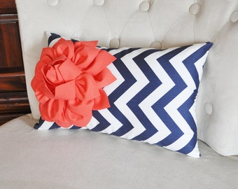 Coral Flower on Navy Chevron Lumbar Pillow, Decorative Throw Zipper Pillows