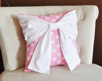 Throw Pillow White Bow on Big Pink and White Polka Dot Pillow 14x14 Pink Pillow