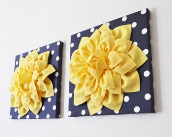 "Navy Wall Decor -Yellow Dahlia on Navy and White Polka Dot 12 x12"" Canvas Wall Art- Flower Wall Art Set of TWO Home Decor"