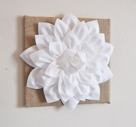 Wall Flower White Dahlia On Burlap 12 X12 Canvas Wall By