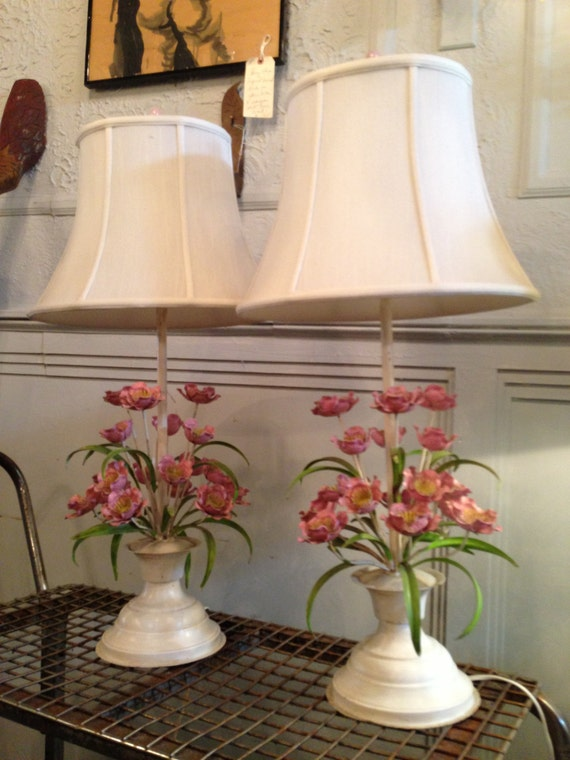 Pair Of Vintage Painted Tole Metal Flower Lamps With Custom
