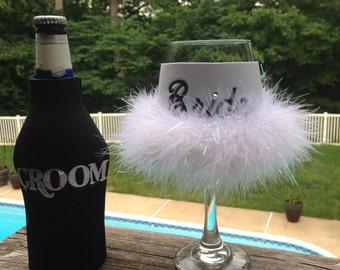 Groom bottle cooler and Bride wine cooler