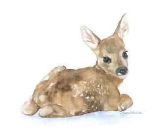 Watercolor Painting Deer Fawn Lying Down - 10 x 8 / 11 x 8.5- Giclee Print - Nursery Art