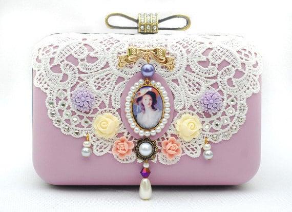Leather Lace Box Clutch Violet Purple Wedding Purse Brides Bridemaids Prom Retro Vintage Victorian Princess Bag White Minaudiere