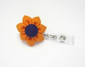 Badge Reel Retractable ID Holder Badge Holder Lanyard Orange & Purple Clemson Kanzashi