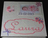 Custom baby girl photo album with frame white mulberry paper for newborn or baptism original gift scrapbook made in Italy