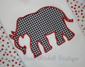 Applique Elephant embroidery Design 4x4, 5x7 and 6x10