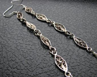 Sterling silver earrings | long dangle | oval | filigree | elegant | duster