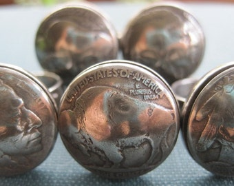 Domed Native American / Buffalo Nickel Ring with Sterling Silver Band MADE TO ORDER.