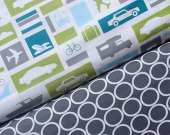 Robert Kaufman Fabric Duo, Cars and Planes in Sky with Ovals in Pewter/Gray, Boy Toys Collection, Full Yard Set, 2 Yards Total