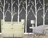 Nursery Wall Decals Beautiful winter tree wall decal with leaves and birds. Custom made tree wall decals. 1012