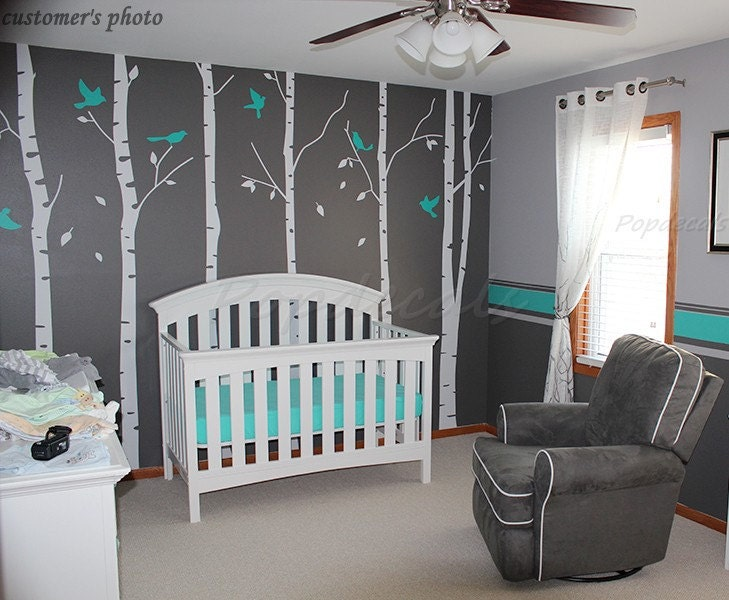 Tree wall decals birch trees decal nursery tree wall decals for Baby room tree mural