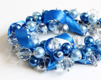 Blue Cluster Bracelet / Blue Pearl Bracelet and Earrings Set