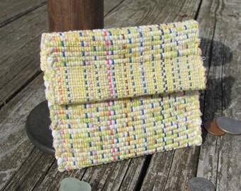Boho Bag Wallet Coin Purse Small Hand Bag, Lunch Money Purse, Key Pouch ID Purse, Woven Lemon Yellow Eco Recycled Rag Fabric Handbag, Gift
