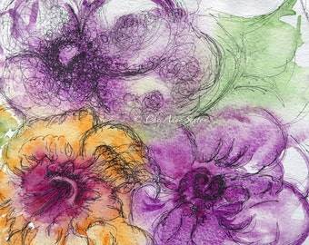 ORIGINAL Sale 3 flowers watercolor and ink  purple yellow green study watercolour  7x7
