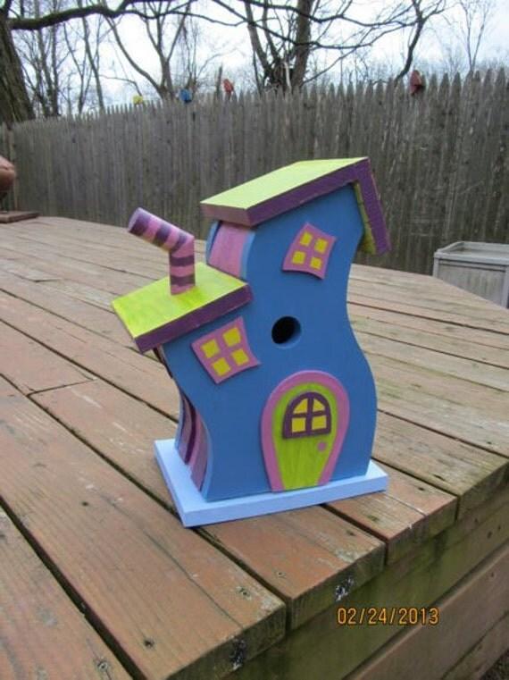 "Handmade Custom Wooden ""Whimsical Dr Seuss-style"" Functional Birdhouse"