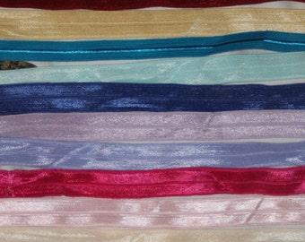 lot 20 yards stretch Foldover Elastic solid camo chevron tie dye FOE 5/8 Baby DIY Hair Ties s296
