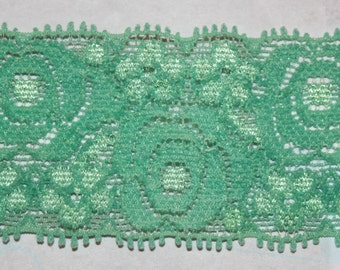 "2 yards dark mint green HEADBAND scalloped headband lingerie stretch lace 1.375"" wide"