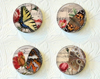 Magnet Set Butterflies and Flowers Over Top Sheet Music Buy 3 Get 1 Free 118M
