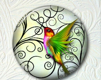 Hummingbird Pocket Mirror - Colorful Hummingbird - 2.25 Inch Purse Mirror - Black Drawstring Pouch -Buy 3 Mirrors Get 1 Mirror Free - 410
