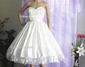 Sample SALE. Retro Style Tea Length Wedding Dress.