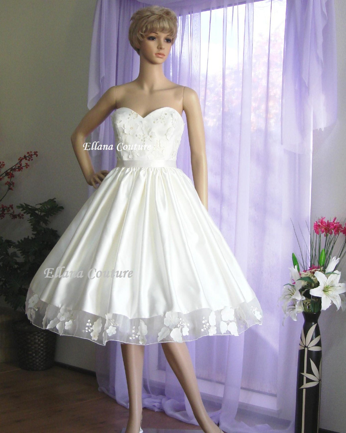 June retro style tea length wedding dress by ellanacouture for Retro tea length wedding dress