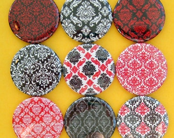 Damask Magnets - Set of Nine 1.25 Inch Button Magnets Packaged in a Custom Box