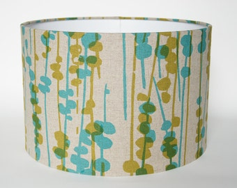 "Lamp shade drum 30cm / 12"" blue green natural Pod"