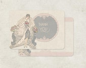 Bridal Shower Thank You Card, Wedding Thank You Cards, Vintage Inspired, Art Deco Thank You, Silver Bride
